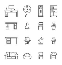 work room furniture thin line icons vector image vector image