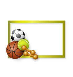 flat cartoon sport equipment banner vector image vector image