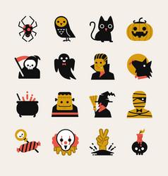 halloween cartoon icon set vector image