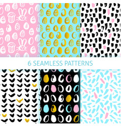 happy easter funky seamless patterns vector image