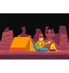 Night Camp Tent Traveler Sings and plays Guitar vector image