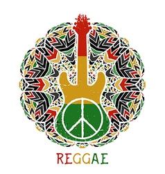 peace symbol and guitar on ornate mandala vector image