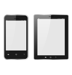 Realistic Digital tablet PC and Mobile phone vector image