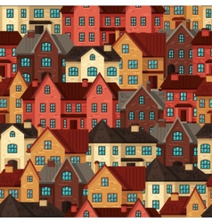Town seamless pattern with cottages and houses vector image vector image