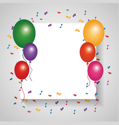White card empty colored balloons and falling vector