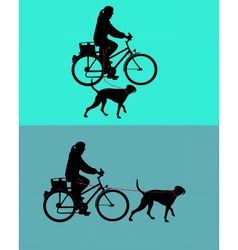 Women on bicycle with dogs on leash vector image vector image