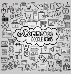 E commerce doodle icons collection vector image vector image