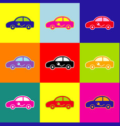electric car sign pop-art style colorful vector image