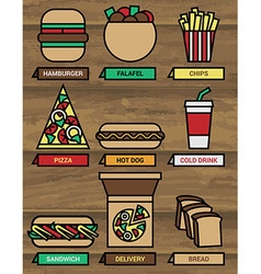 Fast food icons 380 vector image vector image