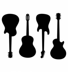 guitars silhouettes vector image vector image