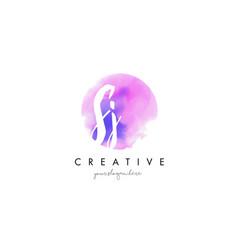 sj watercolor letter logo design with purple vector image