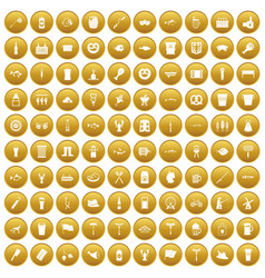 100 beer icons set gold vector