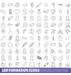 100 formation icons set outline style vector