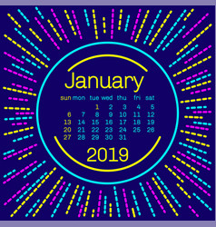 2019 january calendar page in memphis style vector image
