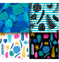 4 seamless tropical jungle floral patterns vector