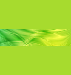 Abstract shiny bright green waves banner design vector