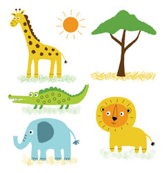 African animals cartoon set vector