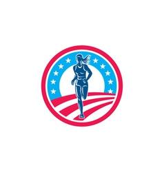 American Female Triathlete Marathon Runner Circle vector image