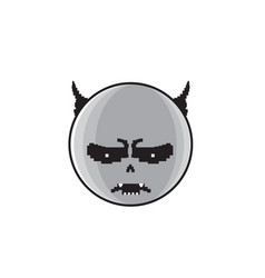 Angry cartoon face with devil horns negative vector