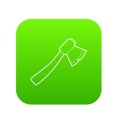 axe icon green vector image