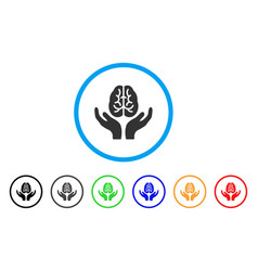 brain care hands rounded icon vector image