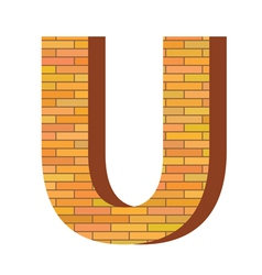 brick letter U vector image
