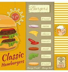 Burgers menu vector