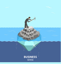 Business sense and strategy isometric flat vector