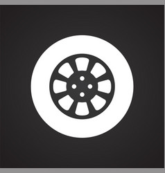 car wheel on black background for graphic and web vector image