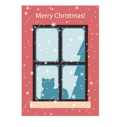 Card with a cat on the window merry christmas vector