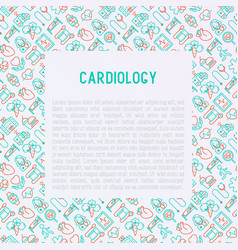 Cardiology concept with thin line icons vector