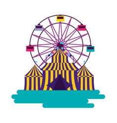carnival tent ferris wheel vector image