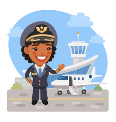 cartoon woman airplane pilot vector image