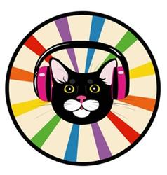 cat music headphones vector image vector image