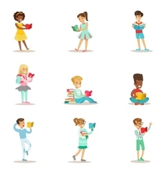 Children who love to read set of vector