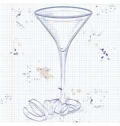 Cocktail Vesper mixed drink on a notebook page vector