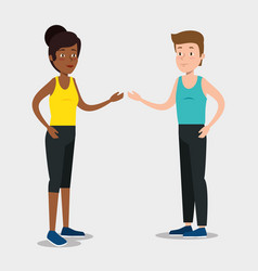 couple runers athletes practicing sports vector image