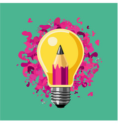 Creative idea lamp bulb and pencil art vector