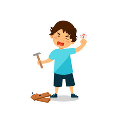 Crying boy with injured thumb kid bruised a vector