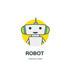cute robot logotype vector image