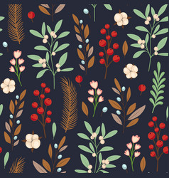 Decorative winter floral seamless pattern vector