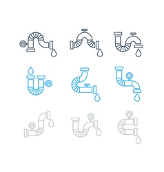 Different pipes for plumbing set of icons vector