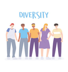 diverse multiracial and multicultural people vector image