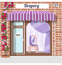 Drapery store facade of red bricks vector