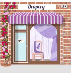 Drapery store facade red bricks vector