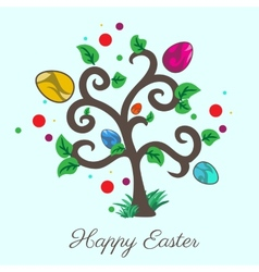 easter tree Holiday card vector image