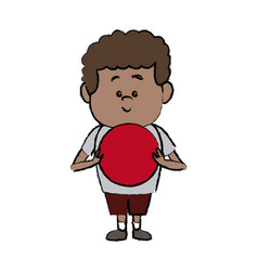 face cute little boy kid avatar person vector image
