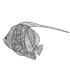 fish isolated with ornamental pattern doodle vector image