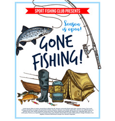 Fishing poster with fish and fisherman equipment vector