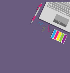 Flat lay with laptop vector